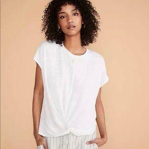 LOU & GREY for Loft Front Twist T-Shirt 100% LINEN